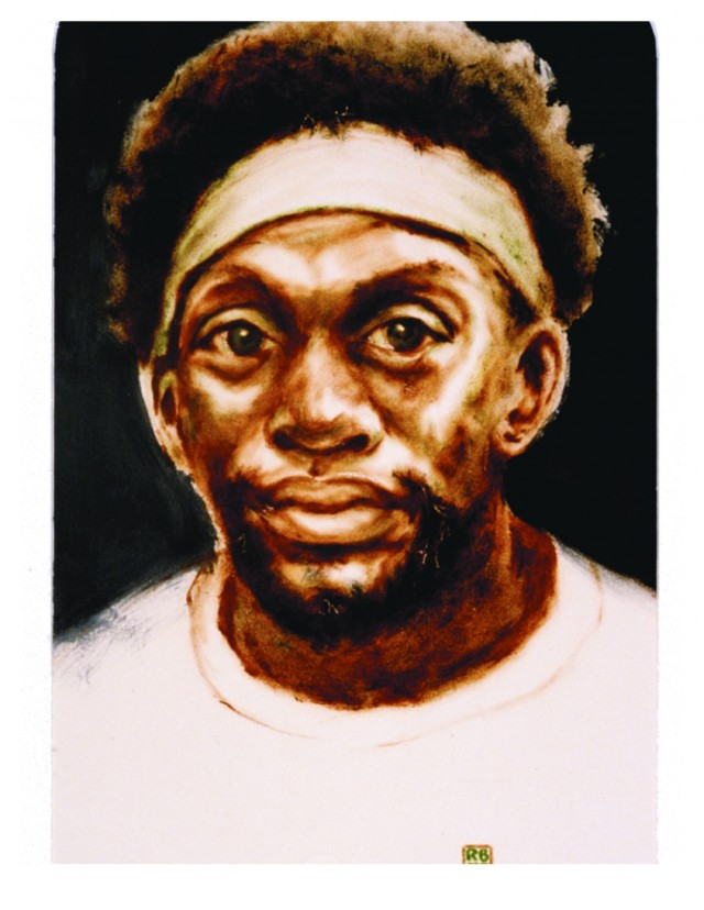 Point Guard - oil on paper - 14 x 20 - 1975
