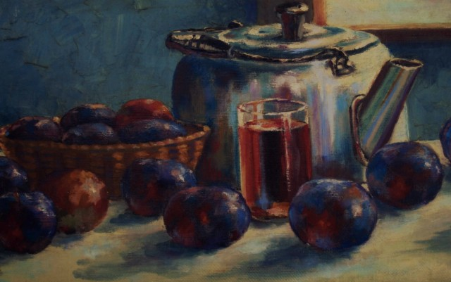 tea kettle & plums