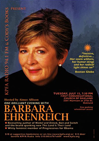 One Billiant Evening with Barbara Ehrenreich