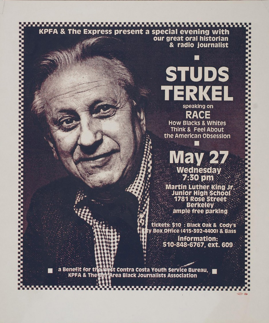 stephen cruz by studs terkel Studs terkel: the passing of an icon - by stephen lendman despite his advanced age, the news came as a shock an era had passed on october 31, author, activist, actor, broadcaster, and mensch for all seasons louis studs terkel died peacefully at his chicago north side home at age 96.